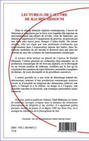 Lectures de l'oeuvre de Rachid Mimouni - 4ème de couverture - Format classique