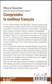 Comprendre le malheur français - 4ème de couverture - Format classique
