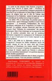 Vatican Et L'Ex-Yougoslavie - 4ème de couverture - Format classique