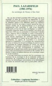 Paul Lazarsfeld, 1901-1976 ; La Sociologie De Vienne A New York - 4ème de couverture - Format classique