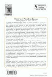 Penser Avec Arendt Et Levinas 2e Ed (2e édition) - 4ème de couverture - Format classique