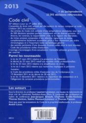 Code civil (édition 2013) - 4ème de couverture - Format classique