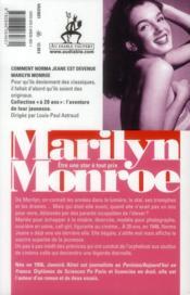 Marilyn Monroe à 20 ans ; le secret de ses débuts - 4ème de couverture - Format classique