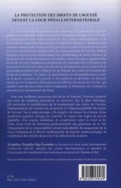 Protection des droits de l'accusé devant la Cour pénale internationale - 4ème de couverture - Format classique