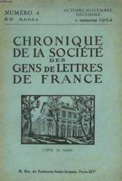 CHRONIQUE DE LA SOCIETE DES GENS DE LETTRES DE FRANCE N°4, 89e ANNEE ( 4e TRIMESTRE 1954) - Couverture - Format classique