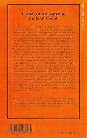 L'imaginaire carcéral de Jean Genet - 4ème de couverture - Format classique