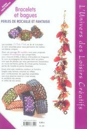 Bracelets Et Bagues-Perles De Rocaille Et Fantaisie - 4ème de couverture - Format classique