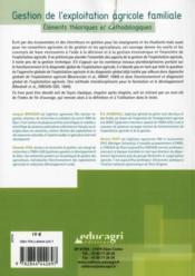 Gestion de exploitation agricole familiale ; éléments théoriques et méthodologiques - 4ème de couverture - Format classique