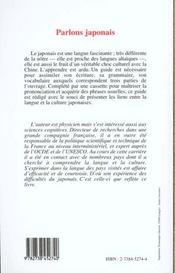 Parlons Japonais, Panorama De La Langue Et Guide Pour L'Assimiler - 4ème de couverture - Format classique