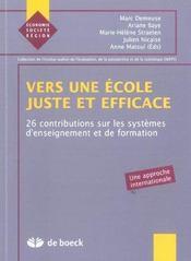 Vers Une Ecole Juste Et Efficace - Intérieur - Format classique