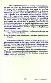 France, Pays Multilingue T.1 ; Les Langues En France, Un Enjeu Historique Et Social - 4ème de couverture - Format classique