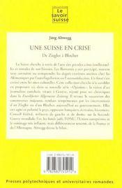 Une Suisse En Crise. De Ziegler A Blocher (13) Opinion - 4ème de couverture - Format classique