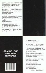 Revue n.42 culture historique ; connaissance maconnique - 4ème de couverture - Format classique