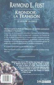 Krondor : la trahison ; le legs de la faille t.1 - 4ème de couverture - Format classique