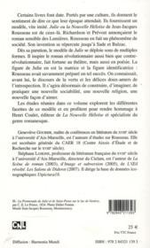 Sources et postérités de La Nouvelle Héloïse de Rousseau ; le modèle de Julie - 4ème de couverture - Format classique