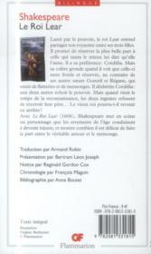 Le roi Lear - 4ème de couverture - Format classique