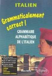 Grammaticalemnt Correct Grammaire Alphabetique De L'Italien - Intérieur - Format classique