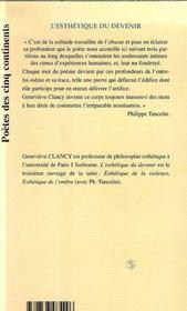 L'Esthetique Du Devenir - 4ème de couverture - Format classique