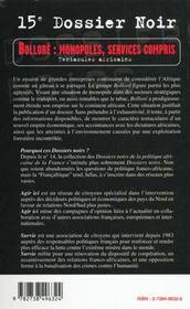 Bolloré ; monopoles, services compris ; tentacules africains - 4ème de couverture - Format classique