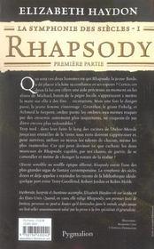 La Symphonie Des Siecles T.1 ; Rhapsody, Premiere Partie - 4ème de couverture - Format classique