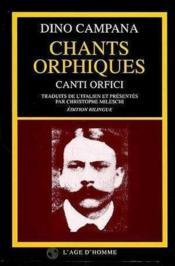 Chants Orphiques - Couverture - Format classique