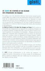 Guide Entree Et Sejour Des Etrangers En France - 4ème de couverture - Format classique