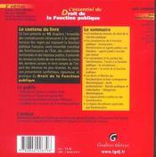 Essentiel Du Droit De La Fonction Publique, 2eme Edition (L') - 4ème de couverture - Format classique