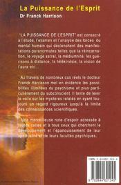 La Puissance De L'Esprit - 4ème de couverture - Format classique