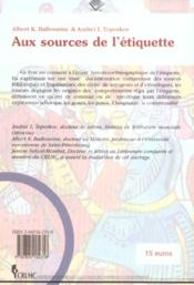 Aux Sources De L'Etiquette - 4ème de couverture - Format classique