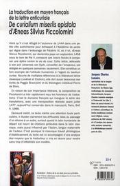 La traduction en moyen français de la lettre anticuriale de curialium miseriis epistola d'aeneas silvius piccolomini - 4ème de couverture - Format classique