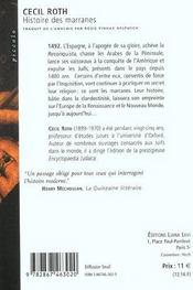 Histoire Des Marranes - 4ème de couverture - Format classique