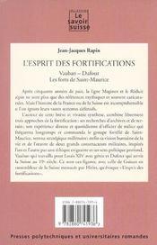 L'Esprit Des Fortifications (8) Vauban Dufour Les Forts Saint Maurice - 4ème de couverture - Format classique