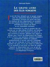 Le Grand Livre Des Elus Vosgiens - 4ème de couverture - Format classique