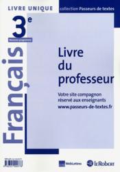 Francais 3e (Passeurs Tex) Mai - Couverture - Format classique