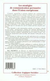 Les Strategies De Communication Persuasive Dans L'Union Europeenne - 4ème de couverture - Format classique