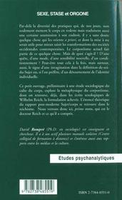 Sexe Stase Et Orgone ; Les Theses Du Docteur Reich - 4ème de couverture - Format classique