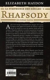 La symphonie des siècles t.1 ; rhapsody, deuxième partie - 4ème de couverture - Format classique