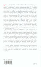 Une Histoire Des Antigaullismes Des Origines A Nos Jours - 4ème de couverture - Format classique