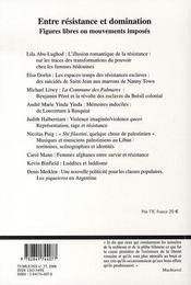 Entre résistance et domination ; figures libres ou mouvements imposés - 4ème de couverture - Format classique