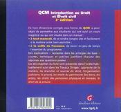 Qcm. Introduction Au Droit Et Droit Civil, 3eme Edition - 4ème de couverture - Format classique