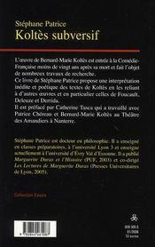 Koltès subversif - 4ème de couverture - Format classique