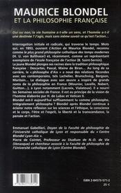 Maurice Blondel et la philosophie française - 4ème de couverture - Format classique