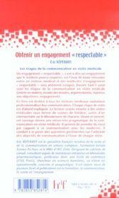 Obtenir Un Engagement Respectable ; Les Etapes De La Communication En Visite Medicale - 4ème de couverture - Format classique