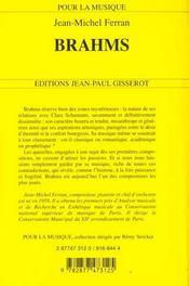 Brahms - 4ème de couverture - Format classique