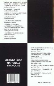 Revue travaux de la loge nationale n.44 ; expression des voies spirituelles - 4ème de couverture - Format classique