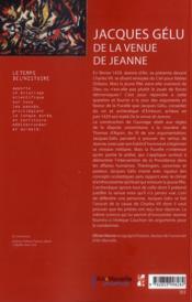 Jacques gelu de la venue de jeanne - 4ème de couverture - Format classique