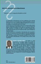 Droit des organisations internationales ; notes de cours à l'usage des étudiants en droit (2e édition) - 4ème de couverture - Format classique