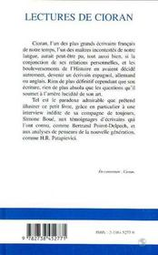 Lectures De Cioran - 4ème de couverture - Format classique