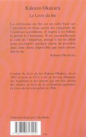Le Livre Du The - 4ème de couverture - Format classique