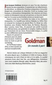 Jean-Jacques Goldman ; un monde a part - 4ème de couverture - Format classique